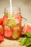 L'eau de Detox avec la pastèque et la menthe Images stock