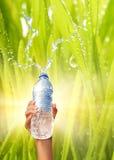 l'eau de fixation de main de bouteille image libre de droits