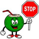 L'eau de noix de coco avec le signe d'arrêt Images stock