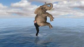 L'eau de promenade d'Elephant Man d'affaires Images libres de droits