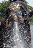 L'eau de pulvérisation d'éléphant pendant le Songkran Photos stock
