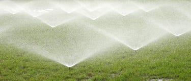 L'eau de pulvérisation d'arroseuse au-dessus de l'herbe verte Images libres de droits