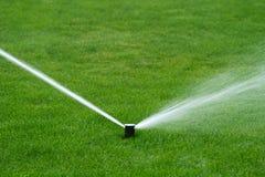 L'eau de pulvérisation d'arroseuse de pelouse Photographie stock libre de droits
