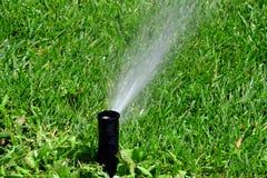 L'eau de pulvérisation d'arroseuse sur la cour verte luxuriante de pelouse Images libres de droits