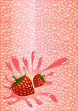 L'eau de scintillement de Strawberrys Photographie stock