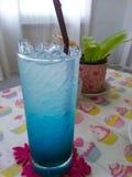 L'eau de seltz bleue et pétillant glacés Images stock