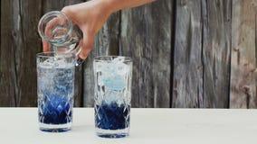 L'eau de seltz de versement au-dessus d'un sirop concentré fait en Clitoria Ternatea de thé de fleur de pois bleu clips vidéos