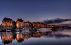 l'eau de Stockholm de ville Photos libres de droits