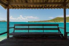 L'eau de vert vert et ciel bleu Photo libre de droits
