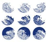 L'eau du Japon et ligne illustration de ressac de logo illustration stock