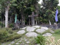 l'eau en pierre sacrée transversale du monastère s d'homme de fontaine d'écoulements d'ouvertures Photographie stock libre de droits