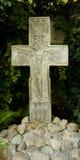 l'eau en pierre sacrée transversale du monastère s d'homme de fontaine d'écoulements d'ouvertures Bas-relief de crucifix Image libre de droits