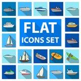 L'eau et icônes plates de transport maritime dans la collection d'ensemble pour la conception Un grand choix de bateaux et de bat Image libre de droits
