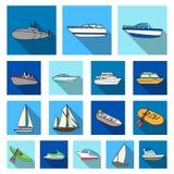 L'eau et icônes plates de transport maritime dans la collection d'ensemble pour la conception Un grand choix de bateaux et de bat Photo stock
