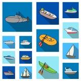 L'eau et icônes plates de transport maritime dans la collection d'ensemble pour la conception Un grand choix de bateaux et de bat Image stock