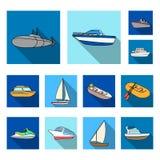 L'eau et icônes plates de transport maritime dans la collection d'ensemble pour la conception Un grand choix de bateaux et de bat Photos stock