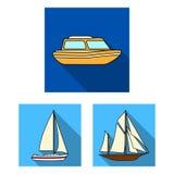 L'eau et icônes plates de transport maritime dans la collection d'ensemble pour la conception Un grand choix de bateaux et de bat Photos libres de droits