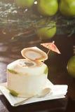 L'eau fraîche de noix de coco Images libres de droits