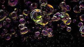 L'eau laisse tomber des bulles sur le fond noir rendu 3d clips vidéos