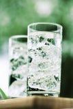 L'eau minérale de pétillement avec des icecubes Photographie stock libre de droits