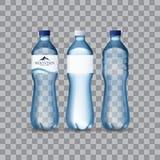 L'eau minérale réaliste de photo dans des bouteilles en plastique dans le format editable de vecteur illustration 3D Photos stock