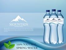 L'eau minérale réaliste de photo dans la publicité en plastique de bouteille dans le format editable de vecteur illustration 3D Photographie stock