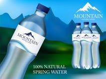 L'eau minérale réaliste de photo dans la publicité en plastique de bouteille dans le format editable de vecteur illustration 3D Images stock