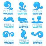 L'eau naturelle, logo de vecteur, labels et calibres d'autocollants avec a Images libres de droits