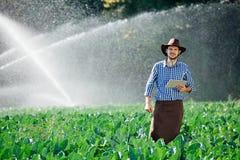 L'eau numérique de système d'arrosage de chapeau de technologie de plantation de tablette de contrôle de travailleur du soleil d' image libre de droits