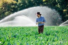 L'eau numérique de système d'arrosage de chapeau de technologie de plantation de tablette de contrôle de travailleur du soleil d' images stock