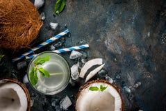 L'eau organique fraîche de noix de coco image libre de droits