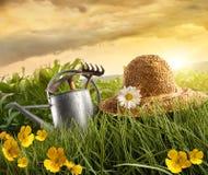 L'eau peut et chapeau de paille s'étendant dans le domaine du maïs Photographie stock libre de droits