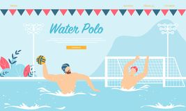 L'eau Polo Competition ou formation avec des sportifs illustration de vecteur