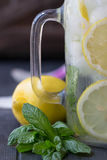L'eau saine avec la menthe, les citrons coupés en tranches et les concombres Boisson de régime L'eau impertinente Pot de maçon co Photo stock