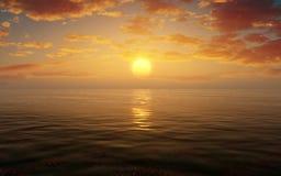 L'eau Scape de coucher du soleil Image libre de droits