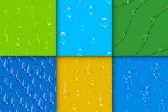 L'eau transparente réaliste laisse tomber le vecteur sans couture de fond de modèle de bulle Photo stock
