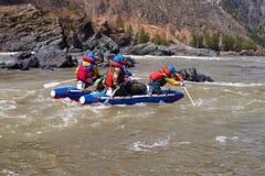 L'eau transportant par radeau sur l'Altay. Photographie stock