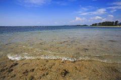 L'eau tropicale bleue autour du récif coralien photos libres de droits