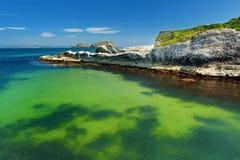 L'eau vert d'émeraude vive au port de Ballintoy le long de la côte de chaussée dans le comté Antrim, Irlande du Nord Photo libre de droits