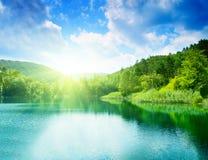 l'eau verte de lac Photos libres de droits