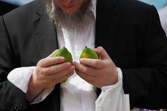 L'ebreo religioso sceglie pre sul bazar Immagine Stock Libera da Diritti