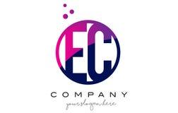 L'EC LA COMMUNAUTÉ EUROPÉENNE Circle Letter Logo Design avec Dots Bubbles pourpre Image libre de droits