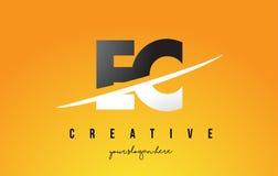 L'EC LA COMMUNAUTÉ EUROPÉENNE Letter Modern Logo Design avec le fond jaune et le Swoo illustration de vecteur