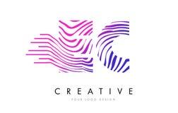 L'EC LA COMMUNAUTÉ EUROPÉENNE Zebra Lines lettre Logo Design avec des couleurs magenta Photo libre de droits
