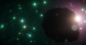 L'eclissi dell'asteroide del ghiaccio lo è protagonista come attraversa through l'estensione fredda di spazio su un contesto dell Immagine Stock