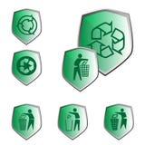 L'ecologia e ricicla le icone Fotografie Stock Libere da Diritti