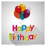L'ed di buon compleanno balloons trasparente con ombra Fotografie Stock