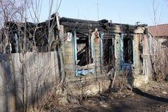 L'edificio residenziale bruciato Fotografia Stock Libera da Diritti