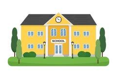 L'edificio scolastico con gli alberi, gli arbusti ed i pali della luce vector l'illustrazione Può essere usato per l'insegna di w Immagini Stock