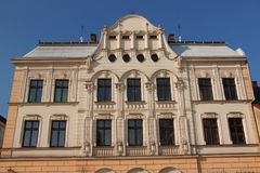 L'edificio storico di Poczta in Cieszyn Polonia, Slesia ha costruito nel 1909 nello stile di Art Nouveau Immagini Stock Libere da Diritti